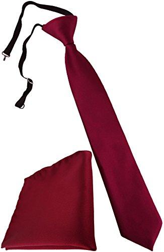 TigerTie Security Sicherheits Krawatte + Einstecktuch in bordeaux Uni einfarbig - vorgebunden mit Gummizug