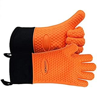 GEEKHOM Grilling Gloves, Heat Resistant Gloves BBQ Kitchen Silicone Oven Mitts, Long Waterproof Non-Slip Potholder for Barbecue, Cooking, Baking(Orange)