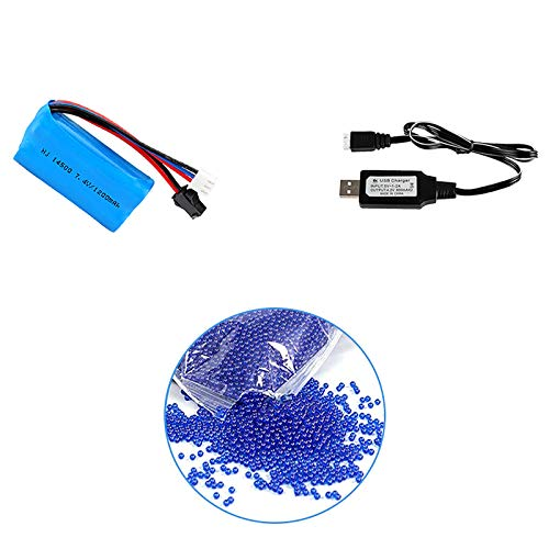 Anstoy Spare Set Replacement Accessories for Electric Gel Ball Blaster Water Bead Toy Gun, Including 1 Pack 7.4V 1200mAh Li-po Rechargeable Battery with USB Charger Cable and 10000 Water Beads