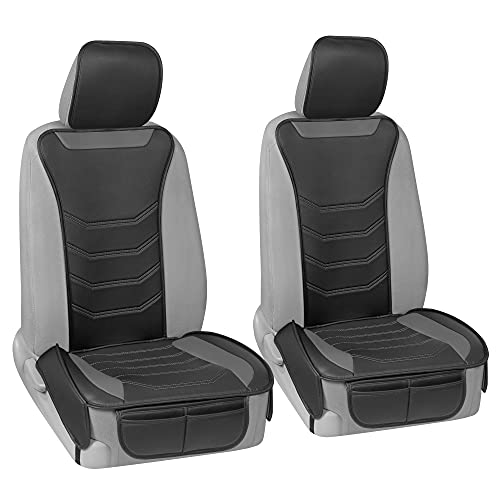Motor Trend LuxeFit Gray Faux Leather Car Seat Covers for Front Seats, 2 Piece...