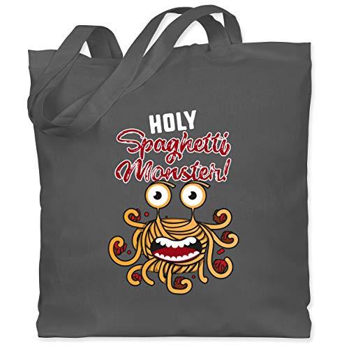 Shirtracer Statement - Holy Spaghetti Monster! - Unisize - Dunkelgrau - XT600_Jutebeutel_lang - WM101 - Stoffbeutel aus Baumwolle Jutebeutel lange Henkel
