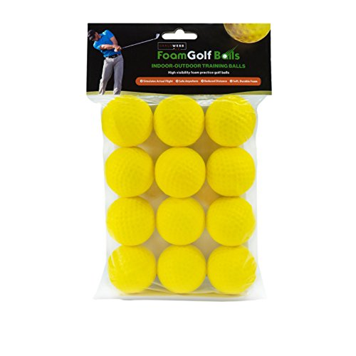 SHAUN WEBB Practice Foam Golf Balls (Pack of 12 Yellow Chipping Balls) Dent Resistant, Long Lasting, Limited Flight - Perfect for Indoors, Basement & Backyard