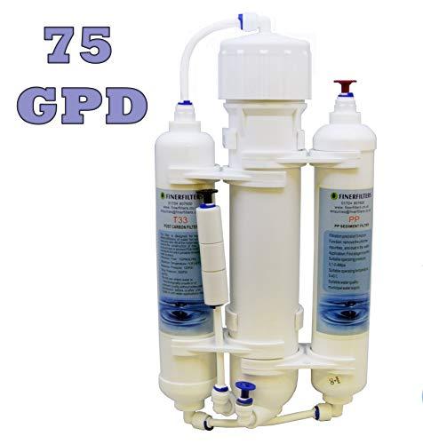 Finerfilters Umkehrosmose Aquarium Compact Wasser Filter System 3Stage Tropische Fische, Diskus, Marine, erhältlich mit 50,75Oder 100GPD Membran (75GPD)