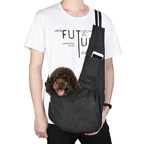 KIWITATA kiwitatá Adjustable Small Dog Cat Sling Carrier Bag Pet Single Shoulder Bag Waterproof Oxford Cloth Outdoor Pet Carriers Tote for Puppy Carrier Travel Bag (L, Black)