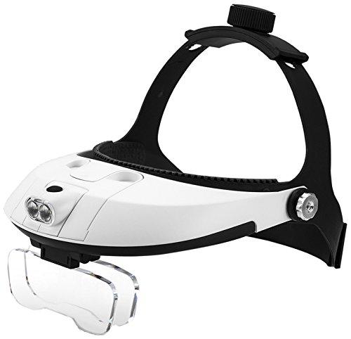 FiveJoy Handsfree Head Mount Magnifier with Detachable LED Head Lamp -...