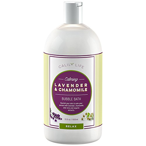 Calily Life Aromatherapy Lavender and Chamomile Bubble Bath Soak & Wash, 33.8 Oz. Infused with Pure...
