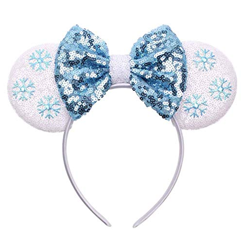 YanJie Mouse Ears Bow Headbands, Glitter Party Hot Pink Princess Decoration Cosplay Costume for Girls & Women (DSNFG-12)