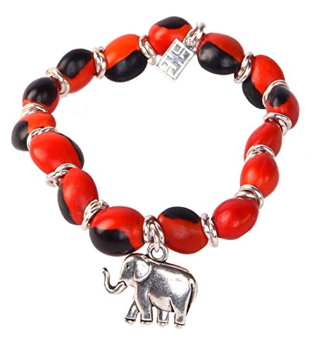 Evelyn Brooks Designs Elephant Charm Stretchy Beaded Bracelet for Women w/Meaningful Good Luck Peruvian Huayruro Red Black Seeds