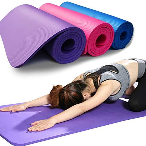 Lshbwsoif Esterilla de yoga de 183 cm, 10 mm de grosor, antidesgarros y antideslizantes, para yoga, pilates y gimnasia (tamaño: 183 cm, color: morado)