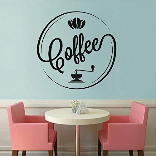Zdklfm69 Pegatinas de Pared Adhesivos Pared Calcomanía de Silueta de Texto de café de diseño Circular para decoración de Arte de Pared de cafetería y Cocina 57x57cm