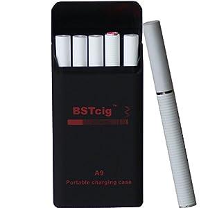 Cigarrillo Electrónico,Caja de carga portátil 900mAh BSTcig A9 / 2 * baterías de cigarrillos e 180mAh/ 5 cartomizadores filtro desechables/Tabaco libre de nicotina 0mg