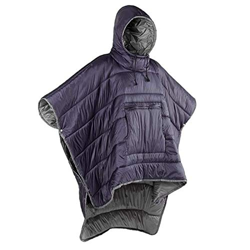 CTEGOOD Outdoor Honcho Poncho Wearable Hoodie Blanket Portable Winter Cloak Cape with Carry Bag Waterproof Windproof Warm for Camping, TravelPurple