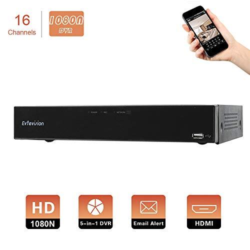 Evtevision 16 Canales HD 1080N Grabador de Video Digital H.265 AHD DVR/HVR/NVR,HDMI P2P, Onvif, Android/iOS App, Detección de Movimiento, Email Alarma,Cámara de Vigilancia CCTV