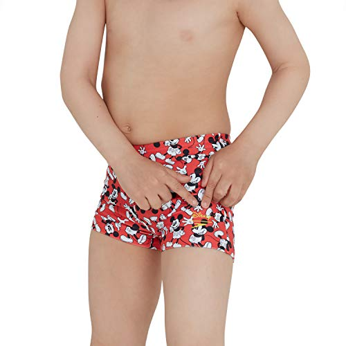 Speedo Boys' Disney Mickey Mouse Digital Allover Aquashort, Risk Red/Black/White, 5 YRS