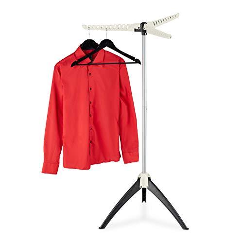 Relaxdays Hemden Wäscheständer, für 33 Kleiderbügel, klappbar, platzsparend, Bügelwäscheständer HBT: 128x66x66 cm, weiß, 1 Stück