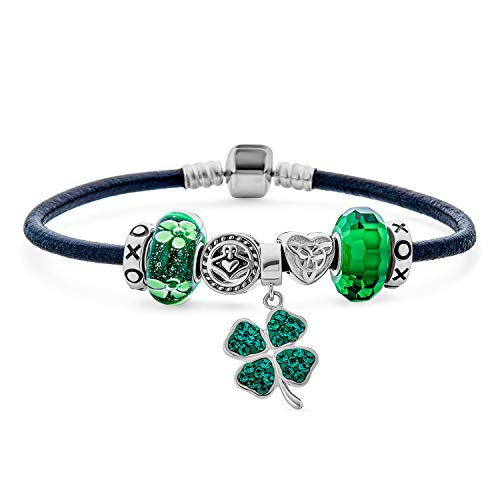 Celtic Lucky Clover verde Shamrock Irish Knot Claddagh Bead Starter Multi Charm Pulsera genuina de cuero negro para mujeres adolescentes .925 plata esterlina europeo barril Snap Cierre 6.5 pulgadas