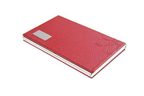 Tarjetero/Estuche para tarjetas de visita, hecho de acero inoxidable de alta calidad, elegante y femenino gracias a su forro de polipiel con flores, para 10-12 tarjetas, de rojo, 439-03 (DE)