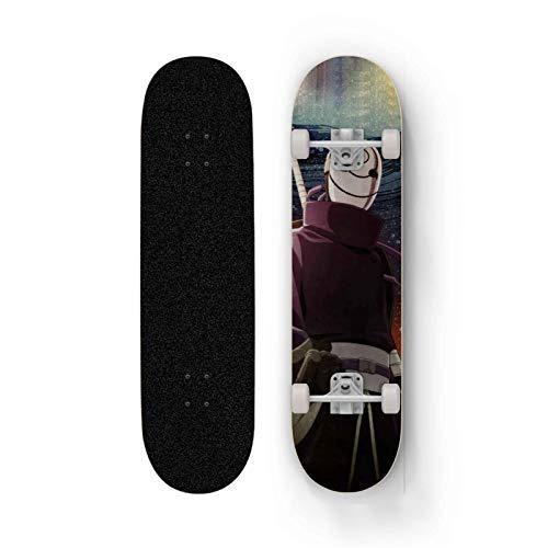 FWAHB Anime Skateboard Naruto-Uchiha Obito, Maple Deck Anfänger Verwenden 31-Zoll-Doppel Kick-Skateboard, Vierrad-Doppelschaukelbrett, Professionelle Shortboard for Straßen-Malerei