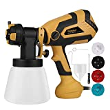 Pistola de pintura profesional Ginour 600W, 1000ML capacidad, Pistola de pulverización eléctrica 1200 ml/min, 3 Modos de pintura, 4 Boquillas (1,5mm, 1,8mm, 2,2mm, 2,6mm), 5 Filtros, fácil de rociar