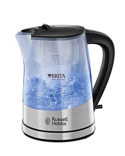 Russell Hobbs Wasserkocher, Purity, integrierter BRITA Wasserfilter, 1,0l + 0,5l Filtereinsatz, 2200W, LED Beleuchtung, inkl. gratis Filterkartusche, Füllmengenmarkierung, Teekocher 22850-70