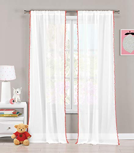 Lala + Bash - Home Fashion PomPom Trim Pole Top Window Curtains for Living Room & Bedroom - Assorted Colors - Set of 2 Panels (38 X 84 Inch - coral Pink)