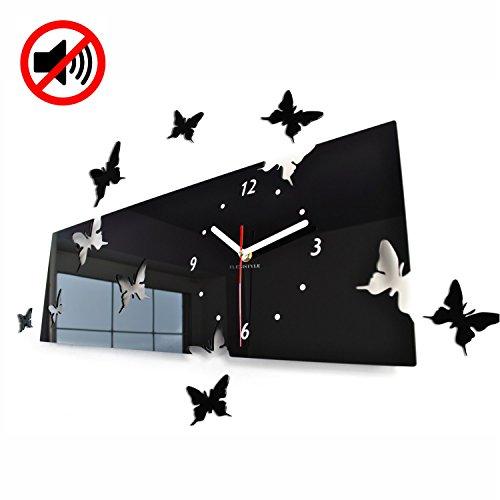 Grote moderne wandklok vlinder zwart liggend formaat 20 x 60 cm, 3d DIY, woonkamer, slaapkamer, kinderkamer