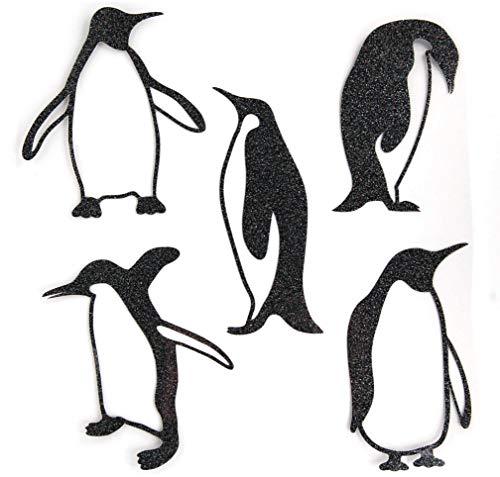 Bügelbilder-Set, Motiv: Pinguine, Farbe: schwarzglitzernd, Setgröße: maxi, heißsiegelfähige Flexfolie