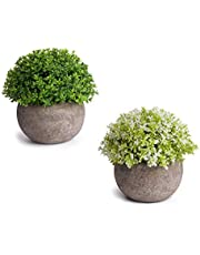 2個セット造花 人工観葉植物 光触媒植物 インテリアにあわせやすい人工植物、インテリア 雑貨、親友への贈り物としても適する (小さな鉢植えの植物)