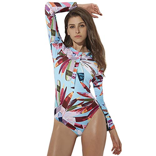 LOPILY Damenmode Einteiler Bademode Neoprenanzug Schnorchelanzug Blumendruck Sonnencreme Langarm Badebekleidung Schwimmanzug Wetsuit Surfbekleidung(X2-Mehrfarbig,XL)