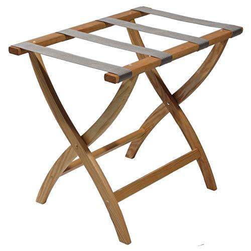 Wooden Mallet Designer Curve Leg Luggage Rack,Grey Straps, Light Oak
