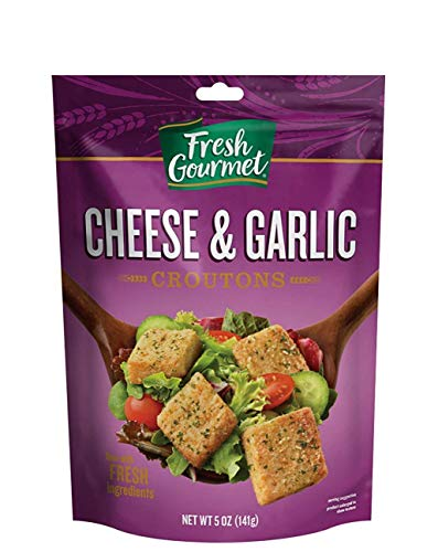 Fresh Gourmet Premium Croutons | Cheese & Garlic | 5 Ounce, Pack of 6 | Crunchy Salad Topper