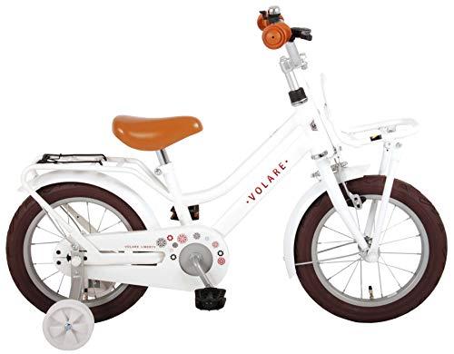 Bici Bicicletta Bambina 14 Pollici Volare Liberty con Ruotine Rimovibili Bianco 95% Assemblata