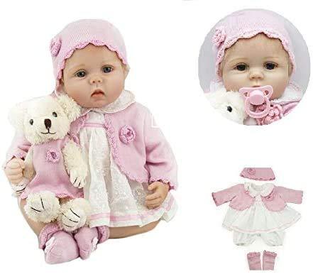 Pinky Reborn 22 Pulgadas 55cm Realista Renacer Bebé Muñecos bebé Hermosa Muñeca Silicona Bebe Reborn Toddler Niña Recien Nacido