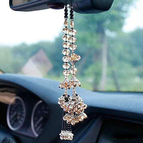 XVBTR Anhänger Auto Anhänger Bauhinia Blume HandwerkKristall hängende Ornamente Automobile Interieur Rückspiegel Home DIY Dekor Zubehör Champagner