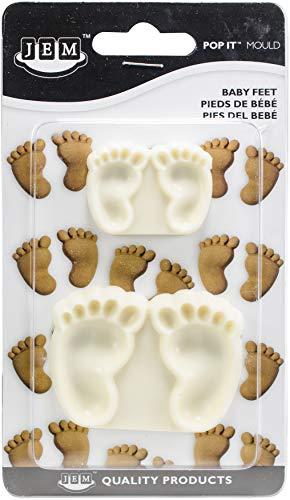 PME 1102EP002 JEM Pop It-Motivform Babyfüße zum Dekorieren von Torten, Sortiment 2 kleine Größen, Kunststoff, Ivory, 6 x 2 x 4.5 cm