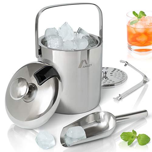 Amazy Edelstahl Eisbehälter mit Deckel inkl. Zange, Eisschaufel und Sieb – Doppelt isolierter Eiswürfelbehälter mit Tragegriff für optimal gekühlte Eiswürfel und Getränke (1,3 Liter)