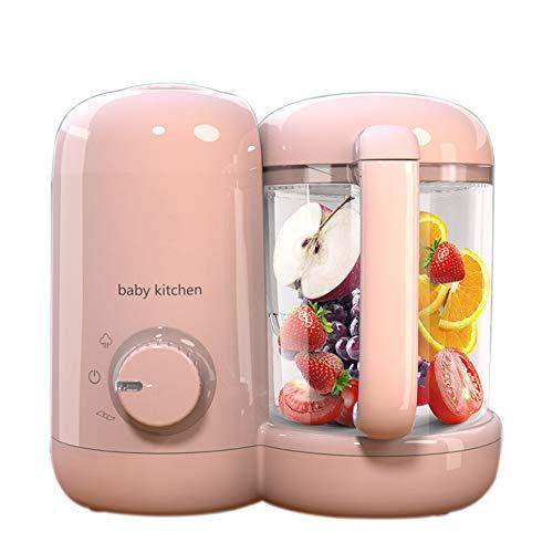 HBIAO Baby-Küchenmaschine, Nahrungsergänzungsmittel Kochmaschine Baby Multifunktions-Mühle Baby Dämpfen und Rühren,Rosa