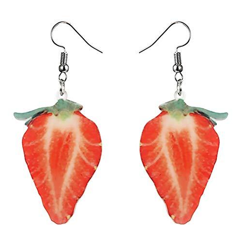 Tonver Obst-Ohrringe, 1 Paar Acryl, kreatives Obst-Ohrstecker, Accessoires, Schmuck für Frauen Mädchen erdbeere