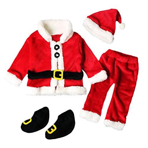 QUICKLYLY 4PCS Conjunto de Navidad para Bebé Niña Niño Santa Tops+Pantalones...
