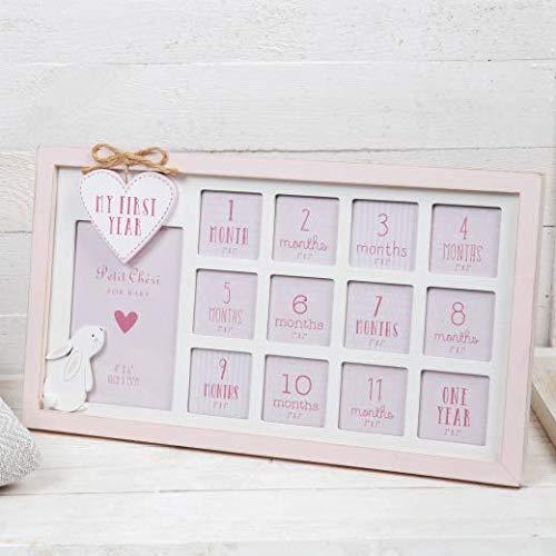 Petit Cheri Bilderrahmen für Babyfotos, Shabby-Chic-Stil, für das erste Jahr, Rosa / Weiß