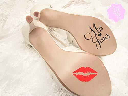 Calcomanía de zapatos de boda – Nombre y beso personalizado – Pegatina de suela de zapatos de boda calcomanía de boda calcomanía de zapatos de novia
