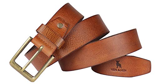 HIDE & SKIN Rosso Men's Leather Hand Milled Belt (Royal Tan; Free Size)