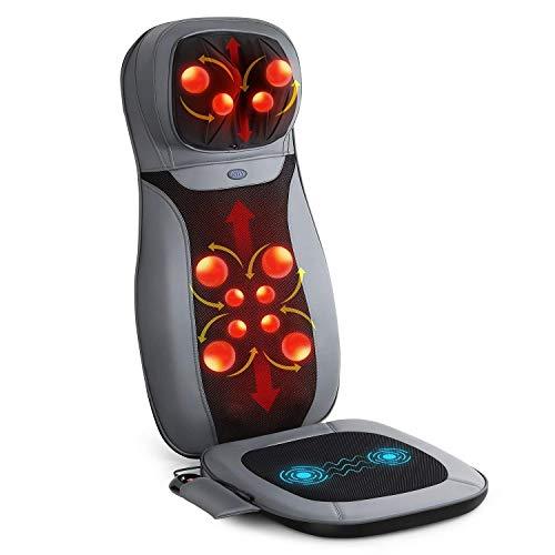 INTEY Sedile per Massaggio Sedile Massaggiante Shiatsu Massaggiatore Collo e Indietro Sedia Con Calore / Shiatsu Profondo Impastare, Rrotolamento e Funzioni di Vibrazione