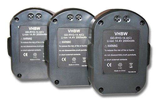Preisvergleich Produktbild vhbw 3x Li-Ion Akku 2000mAh (14.4V) für Werkzeuge Ryobi LLCD14022