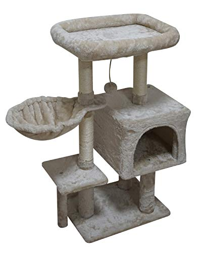 FISH&NAP US09M Cat Tree Cat Tower Cat Condo Sisal Scratching Posts with Jump Platform Cat Furniture Activity Center Play House Beige