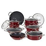 Curtis Stone 17-Piece Dura-Pan Nonstick Nesting Cookware Set - Red