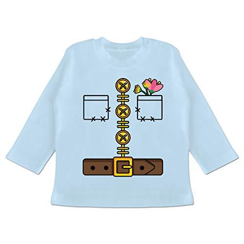 Karneval und Fasching Baby - Zwerg Kostüm - 3/6 Monate - Babyblau - Verkleidung Kostüm - BZ11 - Baby T-Shirt Langarm