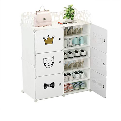 C.G Life 6-Tiers Stackable 24-30 Pairs Freestanding Shoe Storage Cabinets with Adjustable Shelving,White Shoe Shelf Organizer for Bedroom, Closet, Entryway, Dorm Room,Garage,Shoe Rack Have 6 Cubes