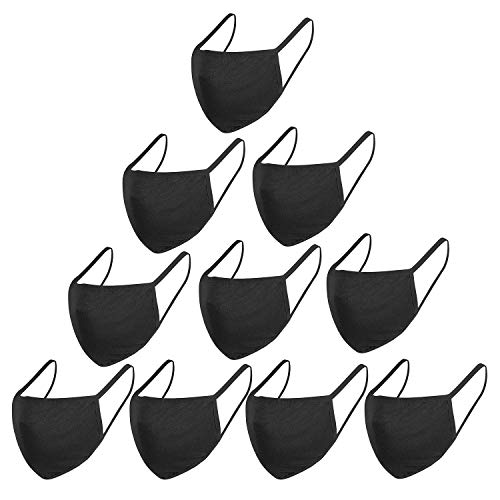 GXZOCK Reutilizables Cara Lavables, Algodón facial Unisex para Hombre y Mujer para Interiores y Exteriores (Black-10 piezas)