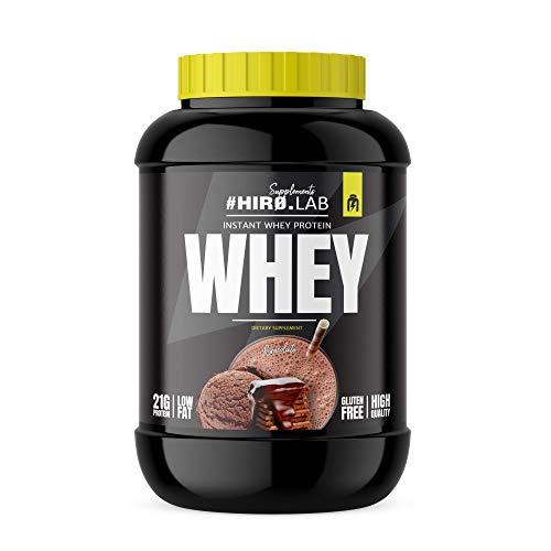Hiro.Lab Instant Whey Protein 2000g - Concentrado de proteína de suero en polvo - Batido para masa muscular - Sin gluten - Bajo en grasas (Chocolate)